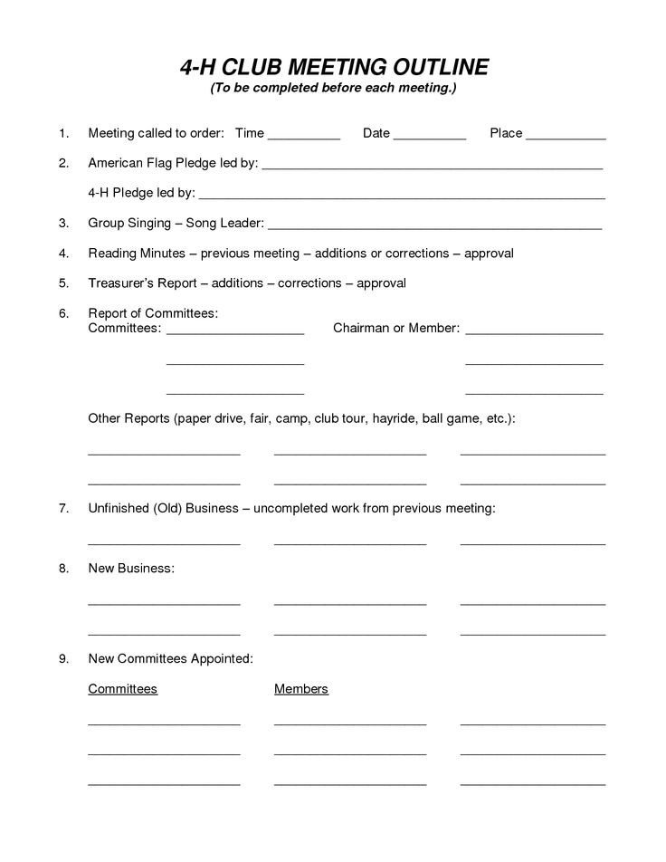 4 H Meeting Minutes Template 10 Images About 4 H Ffa On Pinterest