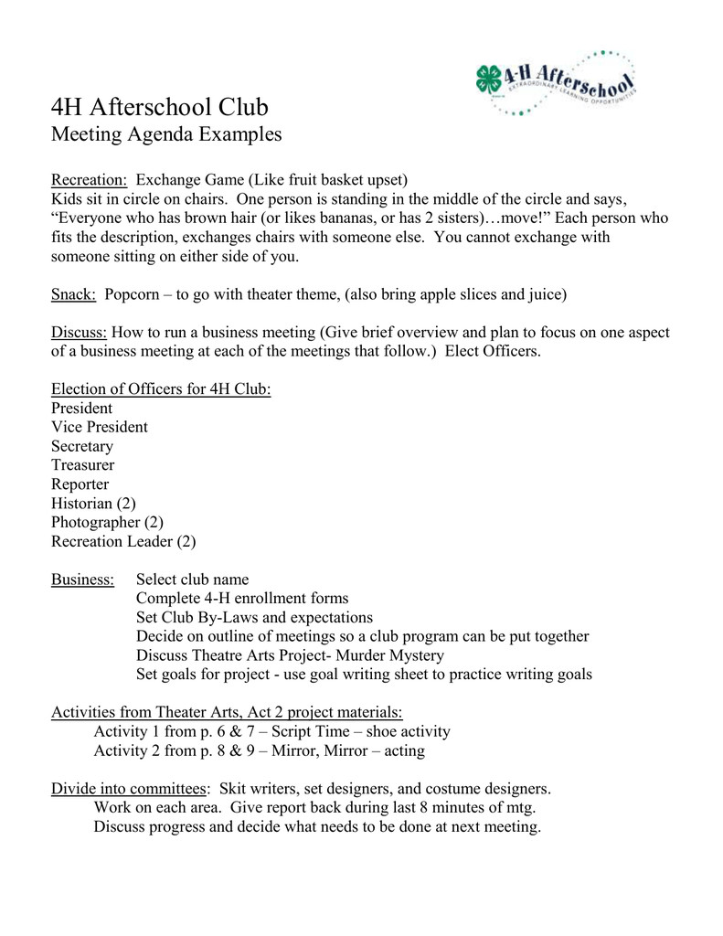 4 H Meeting Minutes Template 4h afterschool Club Meeting Agenda Examples