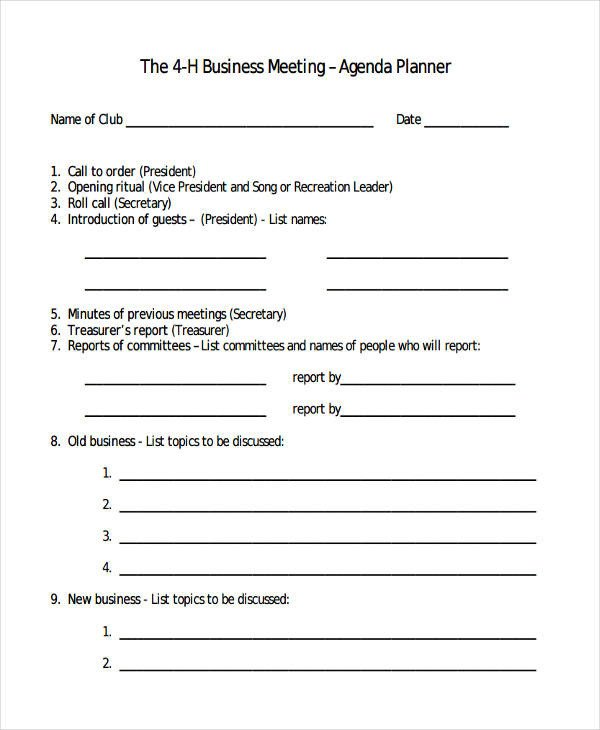 4 H Meeting Minutes Template 56 Agenda Templates and Examples