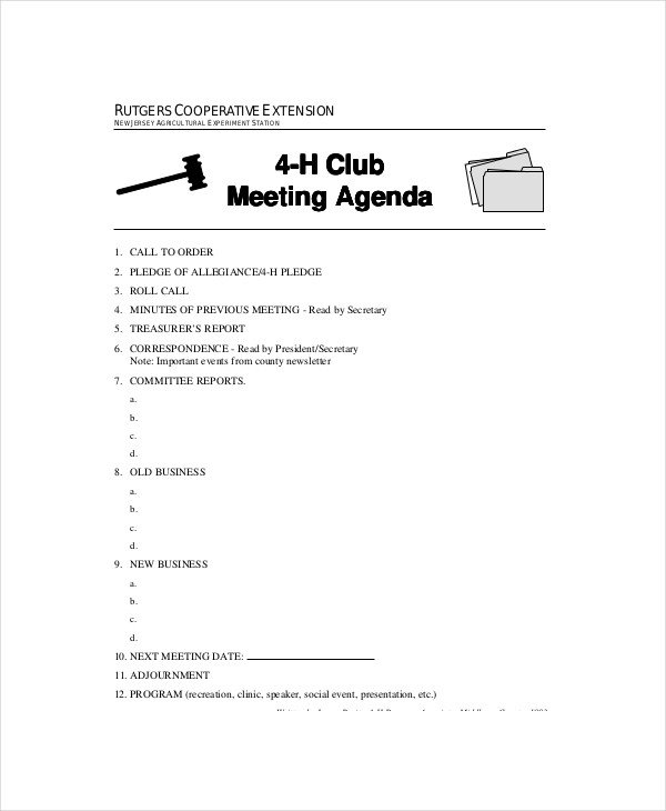 4 H Meeting Minutes Template Club Meeting Agenda Template 7 Free Word Pdf Documents