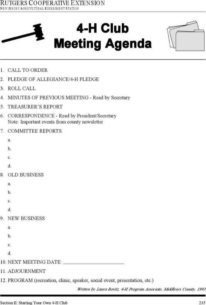 4 H Meeting Minutes Template Download 4 H Club Meeting Agenda Template for Free