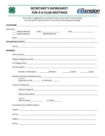 4 H Meeting Minutes Template Ideas for Your 4 H Club Meetings Ideas for Your 4 H Club
