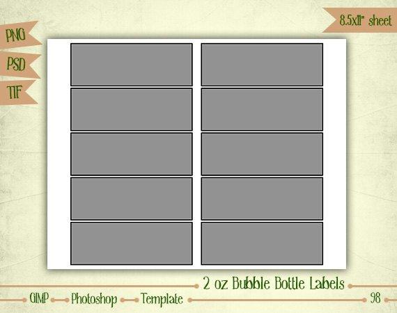 4 Oz Bottle Label Template 2 Oz Bubble Bottle Labels Digital Collage Sheet Layered