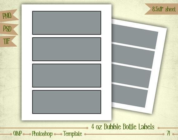4 Oz Bottle Label Template 4 Oz Bubble Bottle Labels Digital Collage Sheet Layered