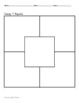 4 Square Writing Templates 4 Square Writing Template by Live Learn Teach