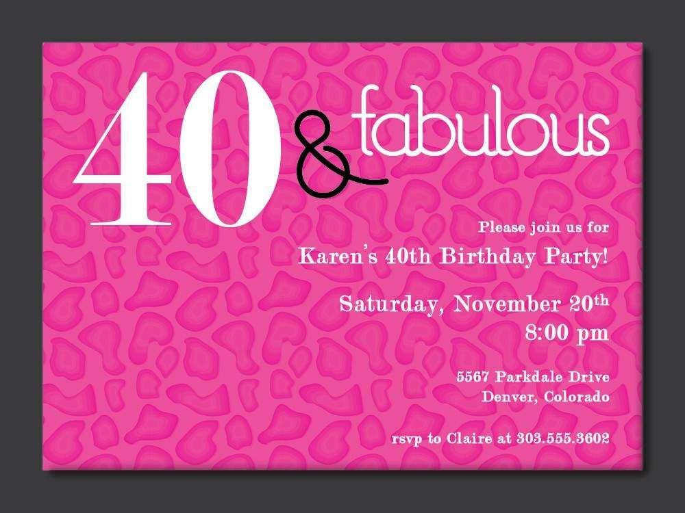 40th Birthday Invitation Wording 40th Birthday Free Printable Invitation Template
