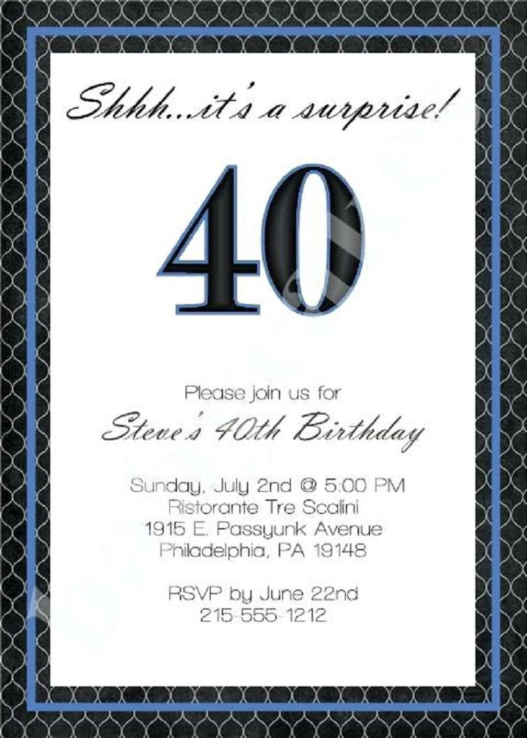 40th Birthday Invitation Wording 40th Birthday Invitation Wording for Men
