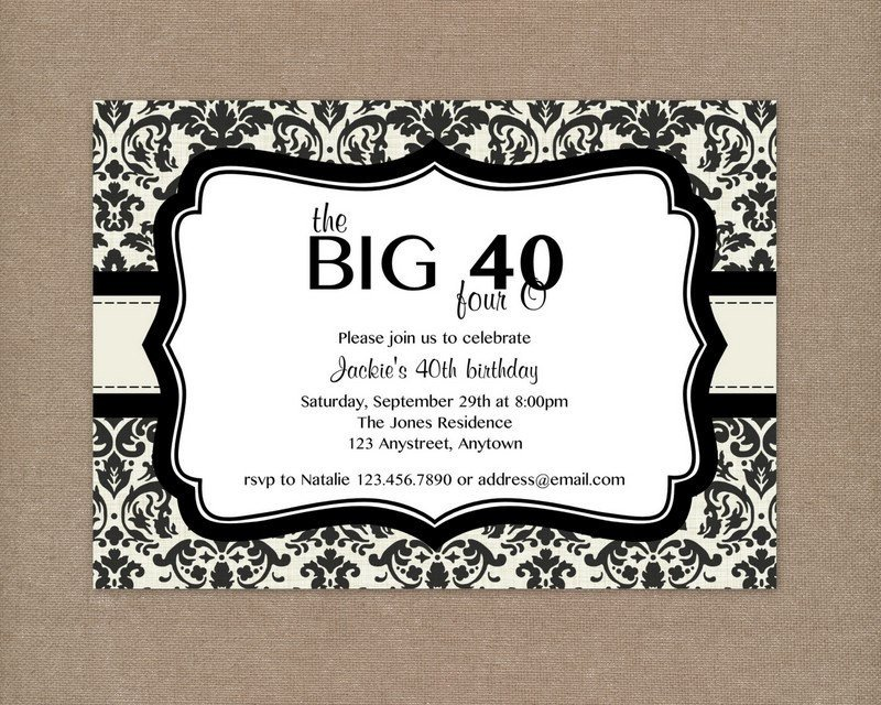 40th Birthday Invitation Wording 8 40th Birthday Invitations Ideas and themes – Sample