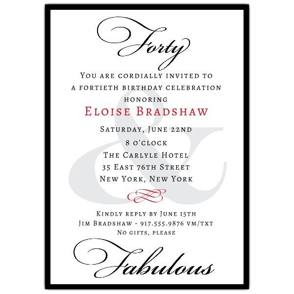 40th Birthday Invitation Wording Classic 40th Birthday Milestone Invitations