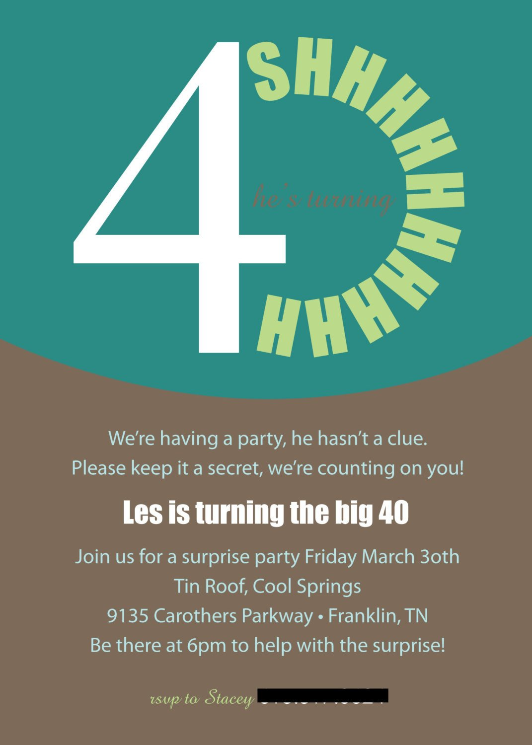 40th Birthday Invitation Wording Printable or Emailable 40th Surprise Birthday Party Invitation