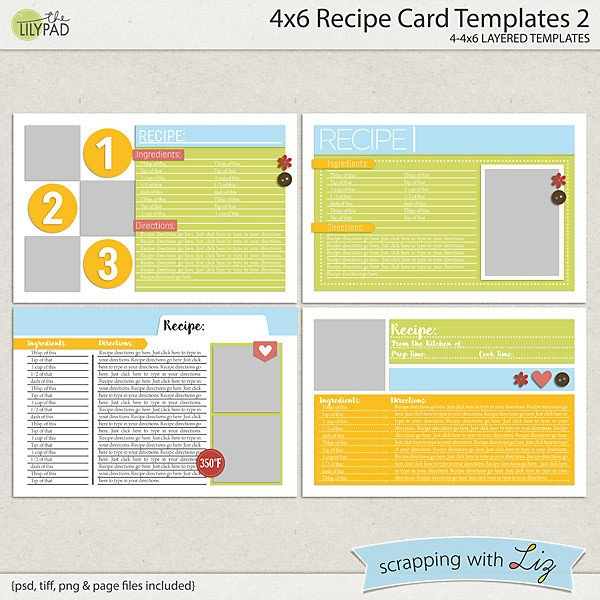 4x6 Postcard Template Word Digital Scrapbook Templates 4x6 Recipe Card 2