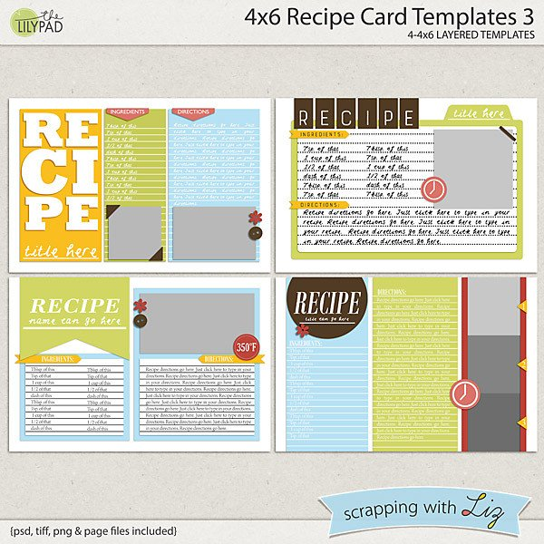 4x6 Postcard Template Word Digital Scrapbook Templates 4x6 Recipe Card 3