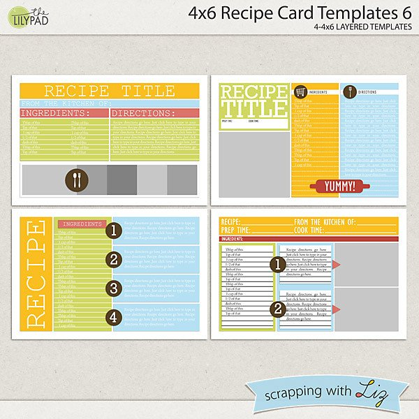 4x6 Postcard Template Word Digital Scrapbook Templates 4x6 Recipe Card 6