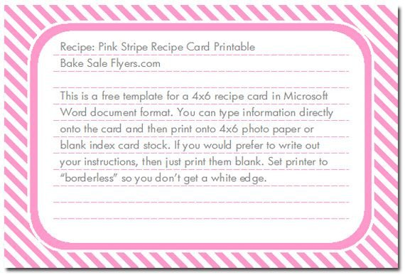 4x6 Postcard Template Word Free 4x6 Recipe Card Template