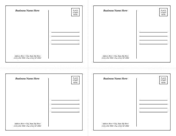 4x6 Postcard Template Word Postcard Template 1