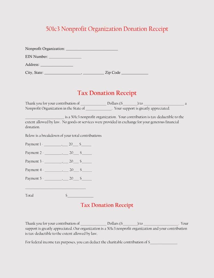 501c3 Donation Receipt 45 Free Donation Receipt Templates & formats Docx Pdf