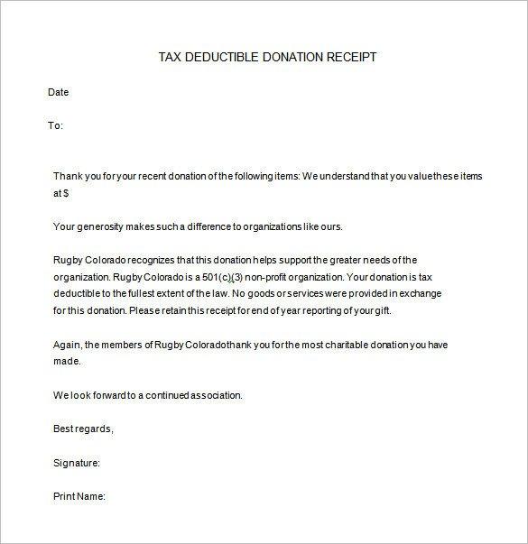 501c3 Donation Receipt Template Donation Receipt Letter Template