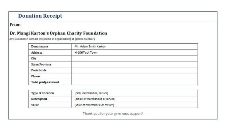 501c3 Donation Receipt Template Non Profit Donation Receipt Template