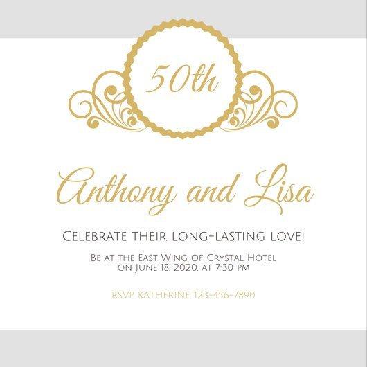 50th Anniversary Invitation Template Customize 1 796 50th Anniversary Invitation Templates