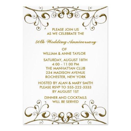 "50th Anniversary Invitation Template Gold Swirls 50th Wedding Anniversary Invitations 5"" X 7"