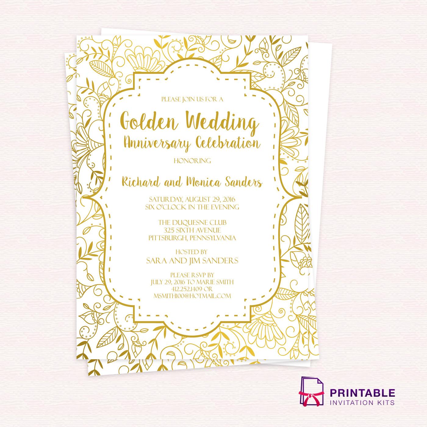 50th Anniversary Invitation Template Golden Wedding Anniversary Invitation Template