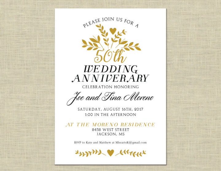 50th Anniversary Invitations Templates 32 50th Wedding Anniversary Invitation Designs