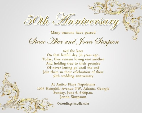 50th Anniversary Invitations Templates 50th Wedding Anniversary Invitation Wording Ideas