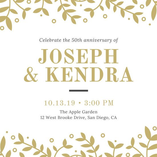 50th Anniversary Invitations Templates Customize 389 50th Anniversary Invitation Templates