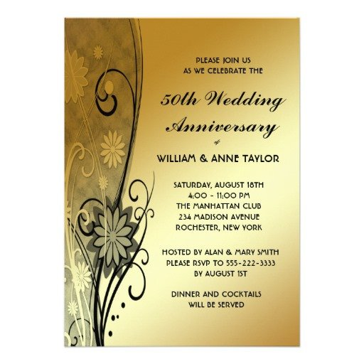 "50th Anniversary Invitations Templates Gold Flower Swirls 50th Anniversary Invitations 5"" X 7"