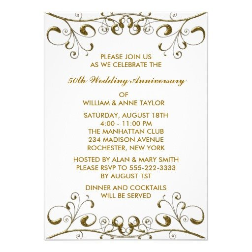 "50th Anniversary Invitations Templates Gold Swirls 50th Wedding Anniversary Invitations 5"" X 7"