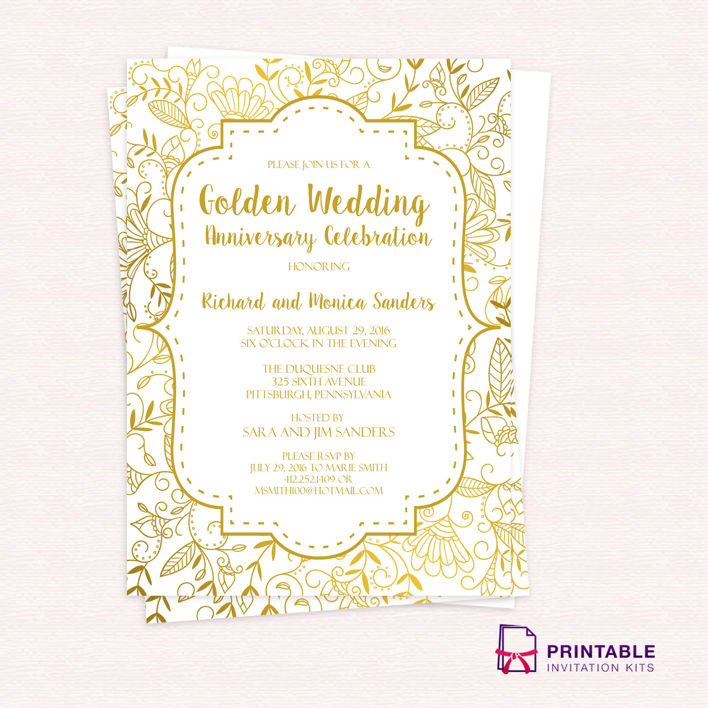 50th Anniversary Invitations Templates Golden Wedding Anniversary Invitation Template