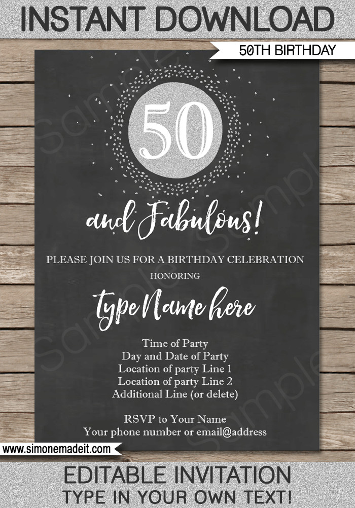 50th Birthday Invitation Template Chalkboard 50th Birthday Invitation Template