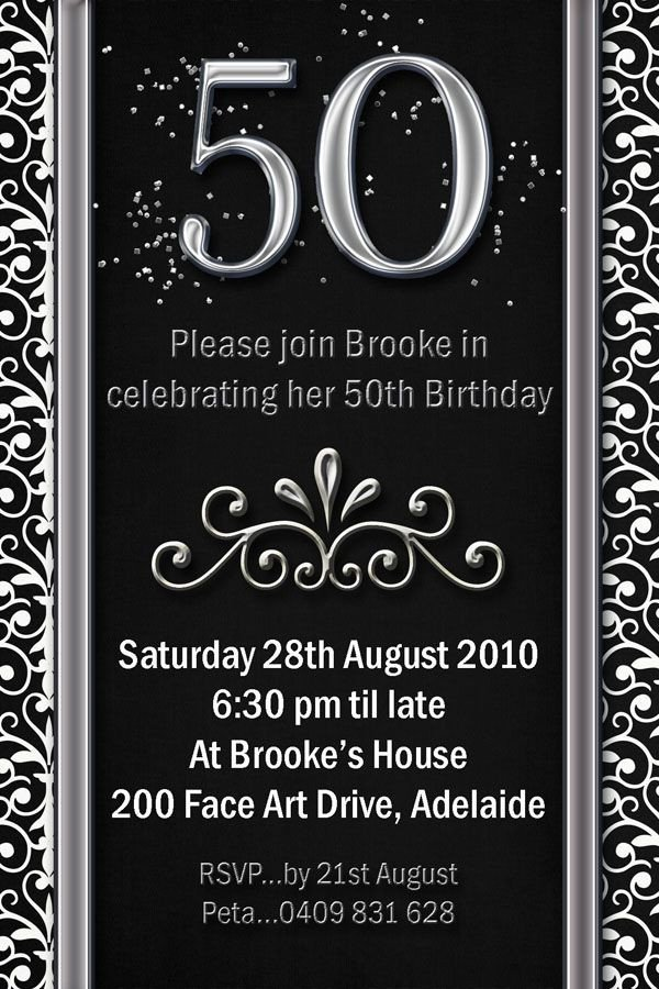 50th Birthday Invitation Template Example 50th Birthday Invitations Flower Patern Silver