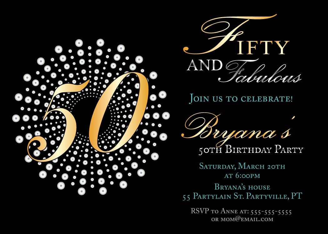 50th Birthday Invitation Template Fifty and Fabulous Birthday Invitations 50th Birthday Party