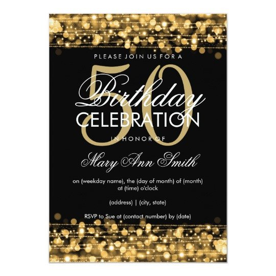 50th Birthday Invitations Templates Elegant 50th Birthday Party Sparkles Gold Invitation