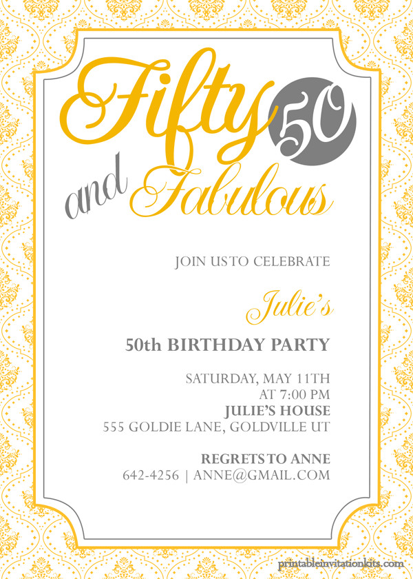 50th Birthday Invitations Templates Fifty and Fabulous – 50th Birthday Invitation ← Wedding