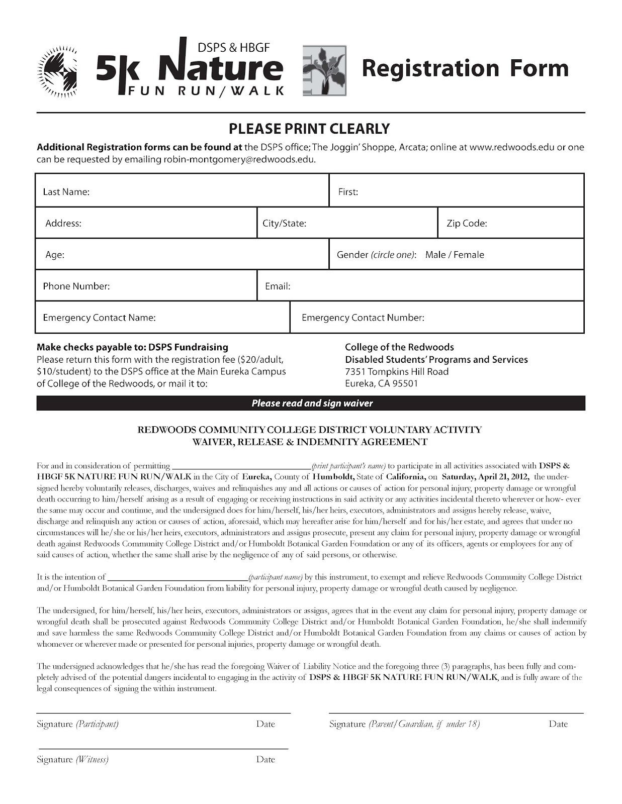 5k Registration form Template Race Registration form Template to Pin On
