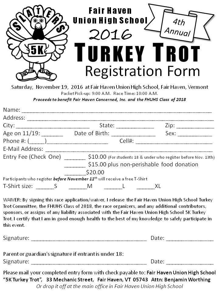 5k Registration form Template Registration form Fhuhs 5k Turkey Trot
