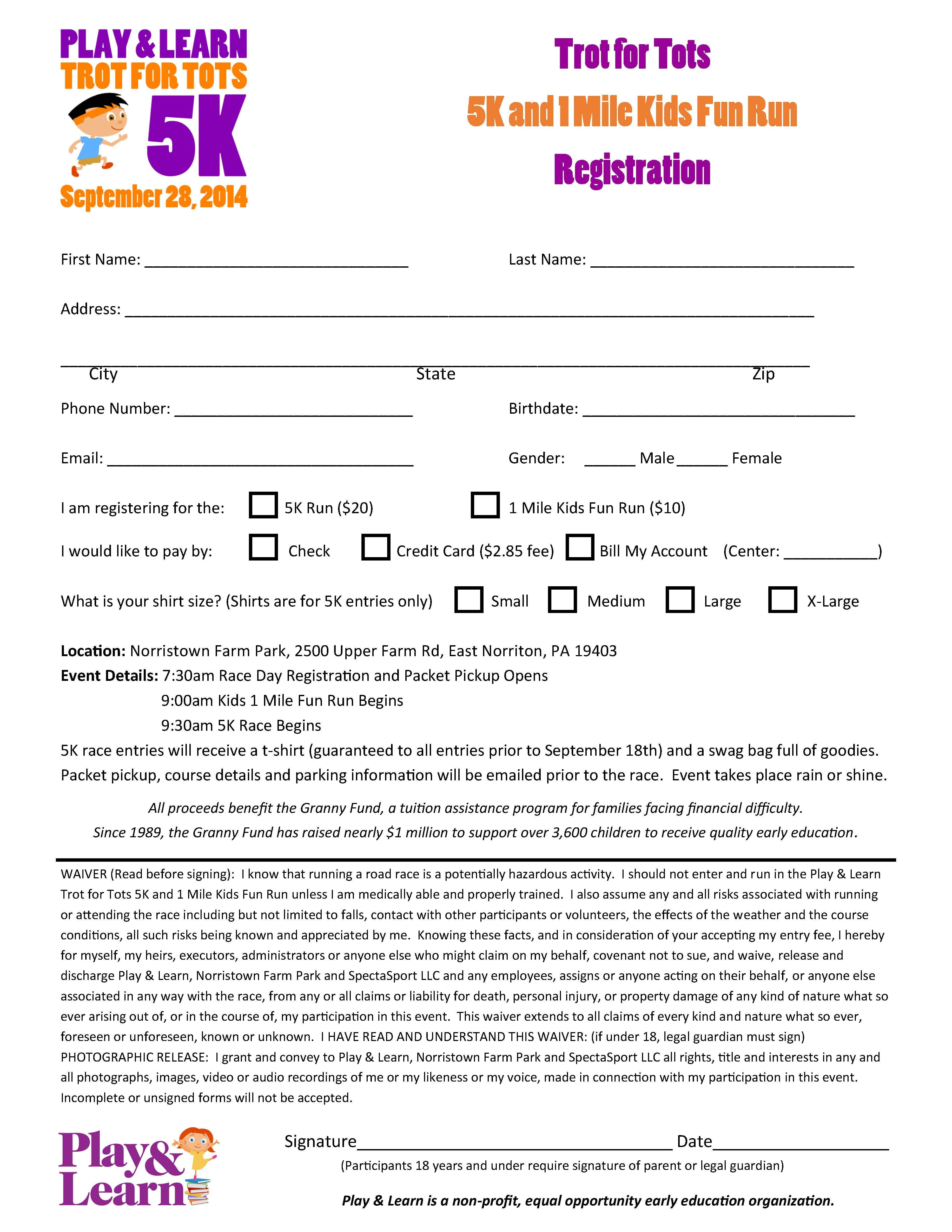 5k Registration form Template Registration form for Play & Learns 5k and Kids Fun Run
