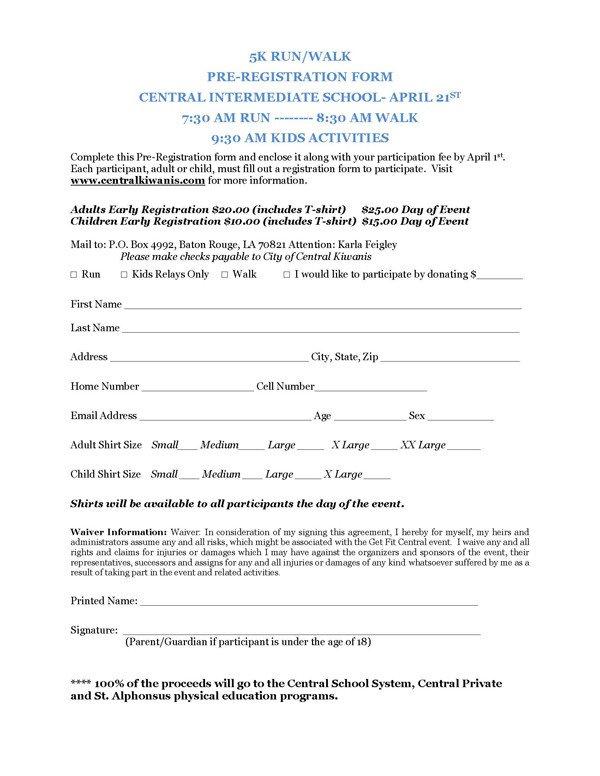 5k Registration form Template Registration form Template for 5k Pdf Katherine Crabtree