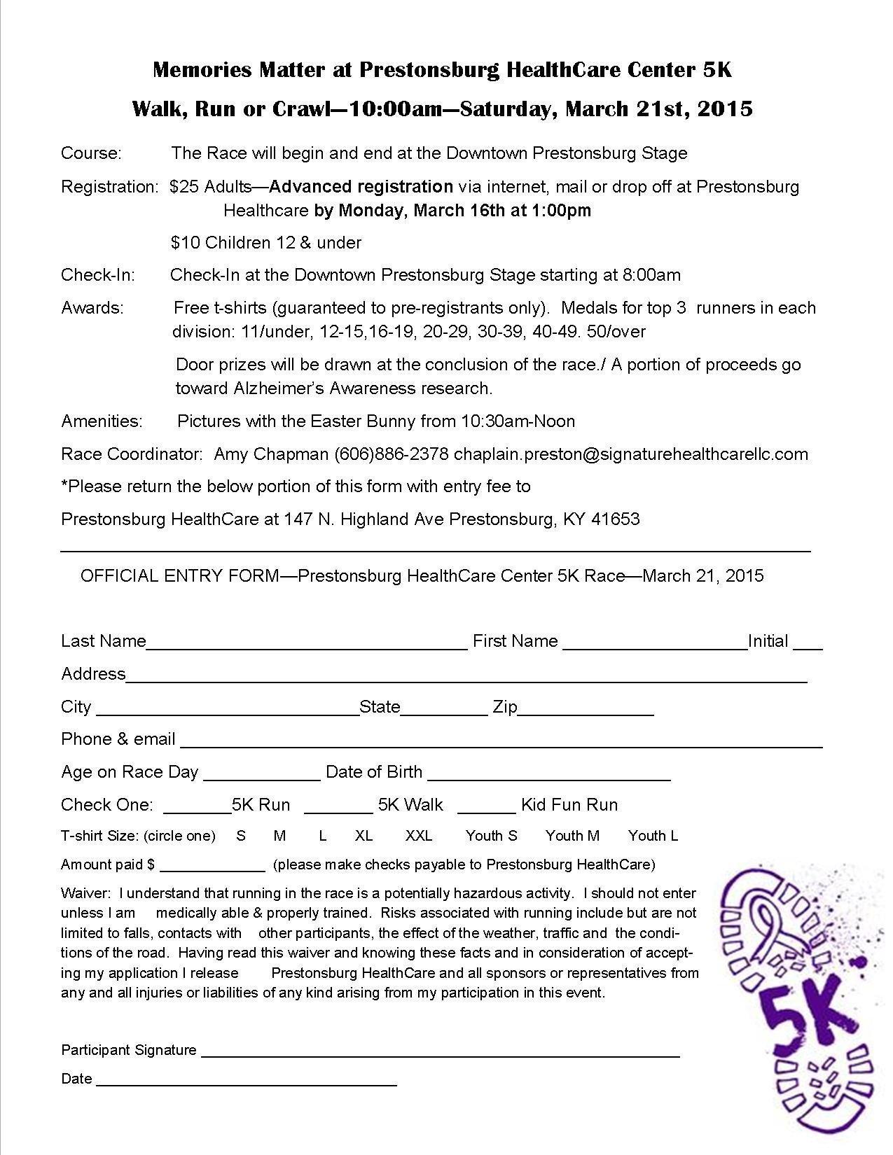 5k Registration form Template Walk Run or Crawl 5k Prestonsburg Health Care Center