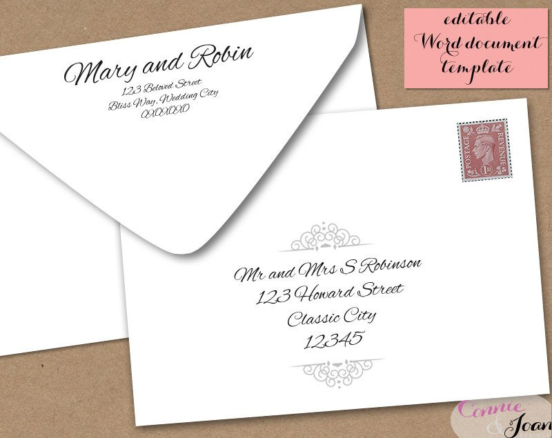 5x7 Postcard Template for Word Printable Wedding Envelope Template 5x7 Front and by
