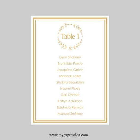 5x7 Postcard Template for Word Wedding Seating Chart Template 5x7 Elegant Wreath Gold