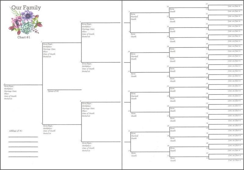 6 Generation Pedigree Chart Family – 6″x 8″ 6 Generations Pedigree Chart 1 – Misc Me