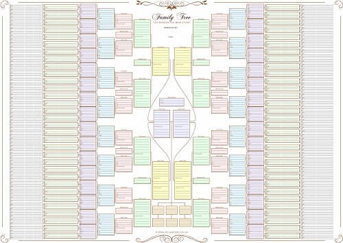 6 Generation Pedigree Chart Family Tree Chart 10 Generation Bow Tie Chart In Pastel