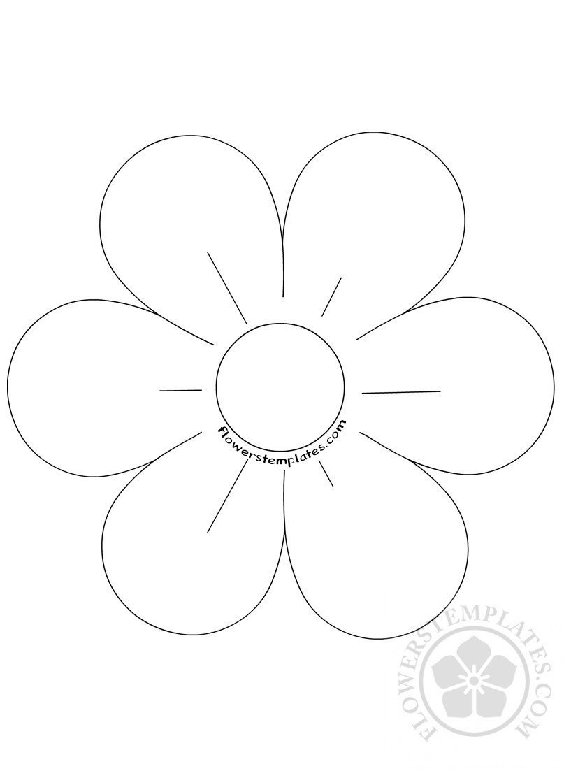 6 Petal Flower Template 6 Petal Flower Template Coloring Page