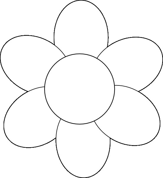 6 Petal Flower Template Flower Six Petals Black Outline Clip Art at Clker