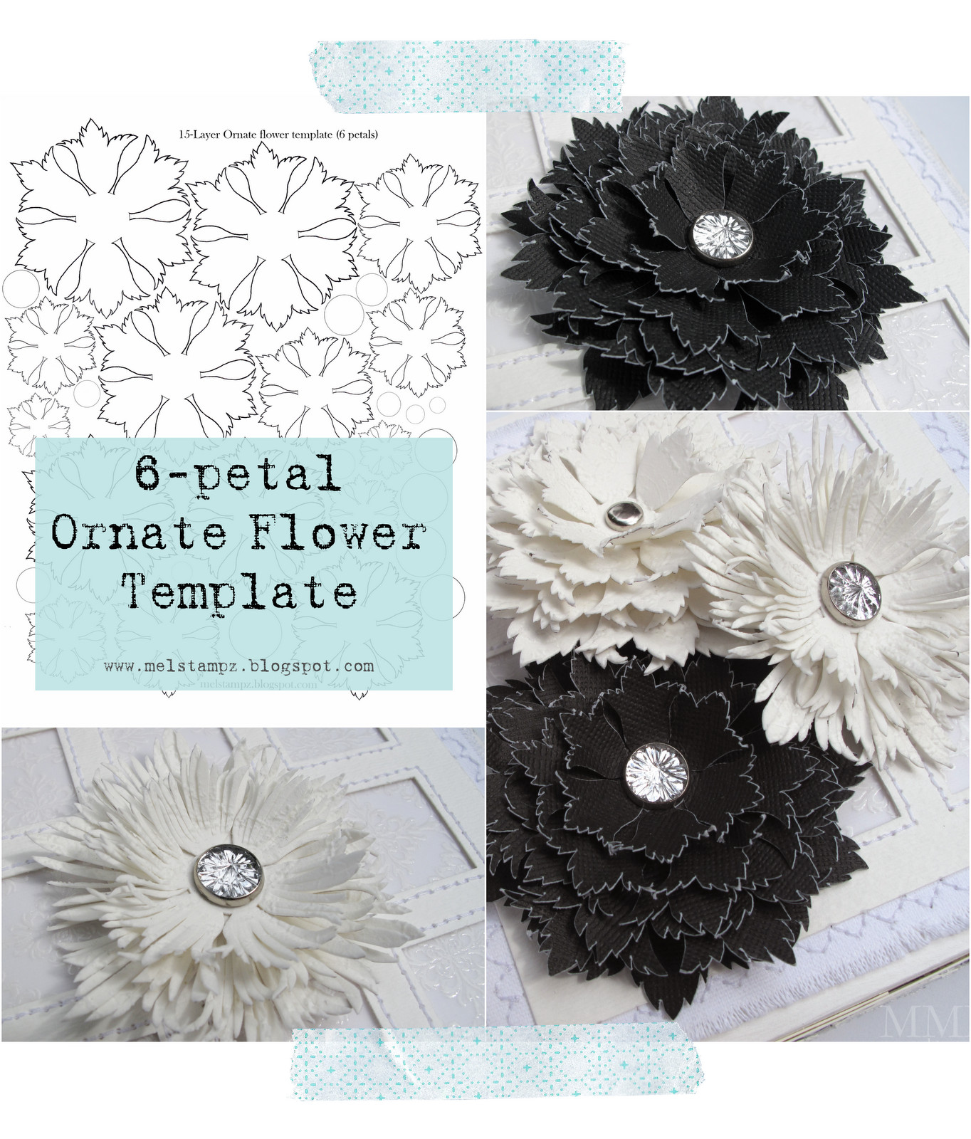 6 Petal Flower Template Mel Stampz 6 Petal ornate Flower Template