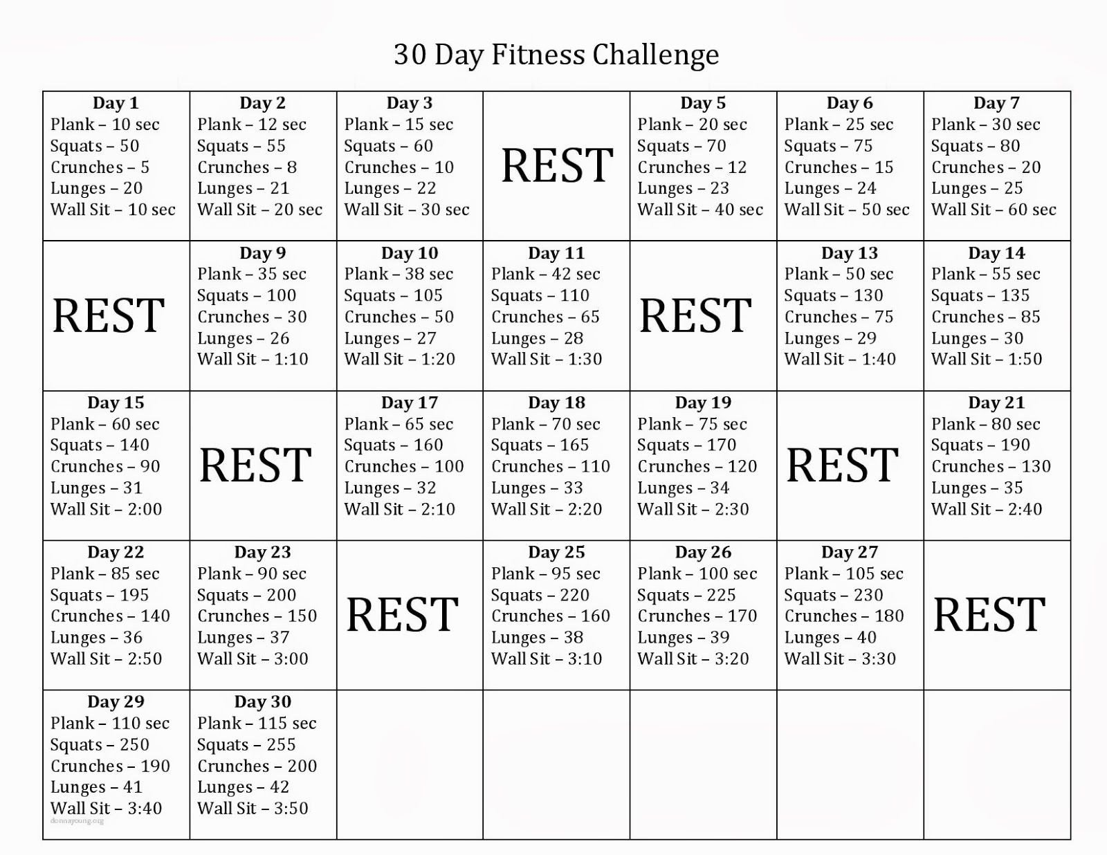 60 Day Workout Plan 30 Day Fitness Challenge Might Make This 60 Days and Do