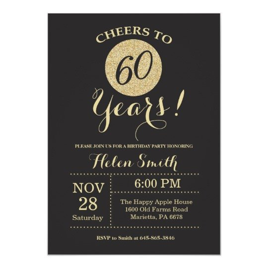 60 Th Birthday Invitation 60th Birthday Invitation Black and Gold Glitter